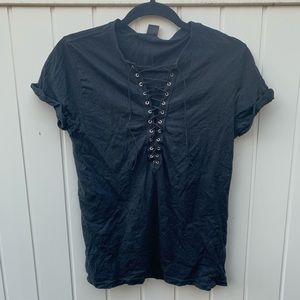 Lace-Up Black Tee